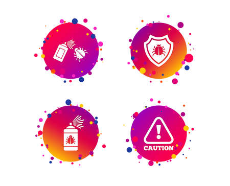 Bug disinfection icons. Caution attention and shield symbols. Insect fumigation spray sign. Gradient circle buttons with icons. Random dots design. Vector