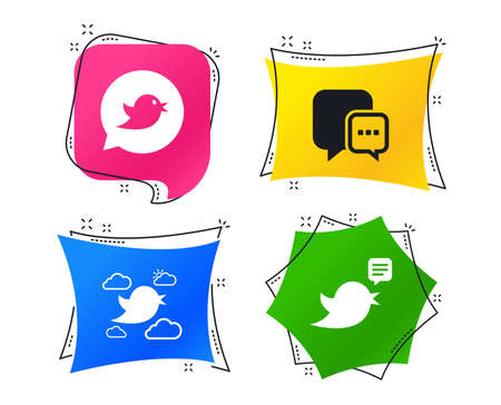 Birds icons. Social media speech bubble. Chat bubble with three dots symbol. Geometric colorful tags. Banners with flat icons. Trendy design. Vector