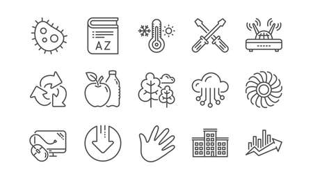 Company building, Fan engine and Profits chart line icons. Jet turbine, Wind energy and Cloud services. Linear icon set.  Vector