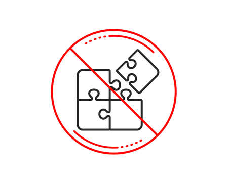 No or stop sign. Puzzle line icon. Engineering strategy sign. Caution prohibited ban stop symbol. No  icon design.  Vector 向量圖像