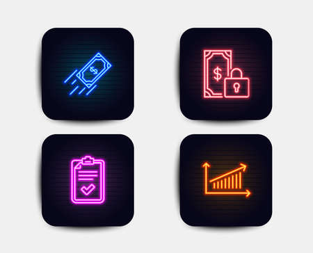 Neon glow lights. Set of Private payment, Fast payment and Checklist icons. Chart sign. Secure finance, Finance transfer, Survey. Presentation chart.  Neon icons. Glowing light banners. Vector