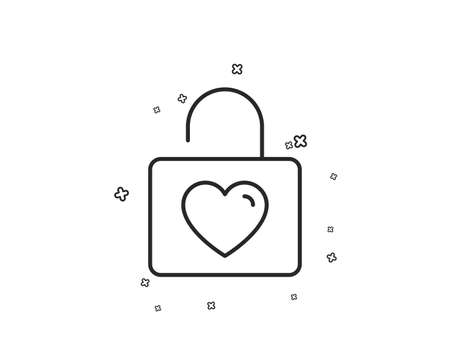 Locker with Heart line icon. Love symbol. Valentines day or Wedding sign. Geometric shapes. Random cross elements. Linear Wedding locker icon design. Vector