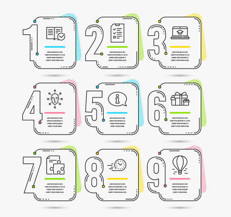 Infographic template with numbers 9 options. Set of Fast delivery, Face biometrics and Strategy icons. Approved documentation, Interview and Information signs. Vector Vektorové ilustrace