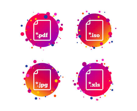 Download document icons. File extensions symbols. PDF, XLS, JPG and ISO virtual drive signs. Gradient circle buttons with icons. Random dots design. Vector