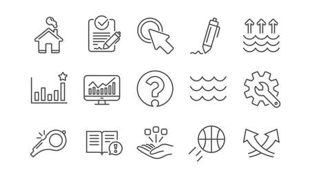 Waves, Whistle and Global warming line icons. Signature, Analytics and Question mark. Linear icon set.  Vector 向量圖像