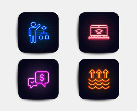 Neon glow lights. Set of Algorithm, Payment received and Website education icons. Evaporation sign. Developers job, Money, Video learning. Global warming.  Neon icons. Glowing light banners. Vector
