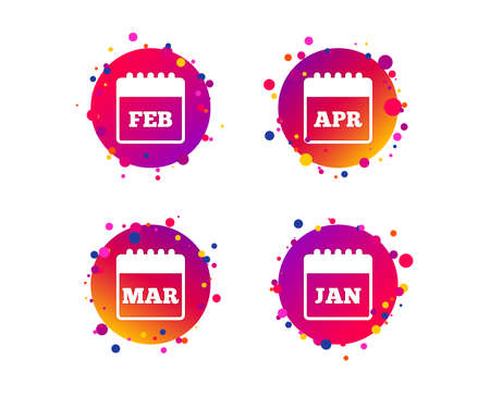 Calendar icons. January, February, March and April month symbols. Date or event reminder sign. Gradient circle buttons with icons. Random dots design. Vector 일러스트
