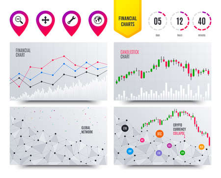 Financial planning charts. Magnifier glass and globe search icons. Fullscreen arrows and wrench key repair sign symbols. Cryptocurrency stock market graphs icons. Trendy design. Vector  イラスト・ベクター素材