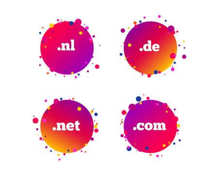Top-level internet domain icons. De, Com, Net and Nl symbols. Unique national DNS names. Gradient circle buttons with icons. Random dots design. Vector Ilustracja