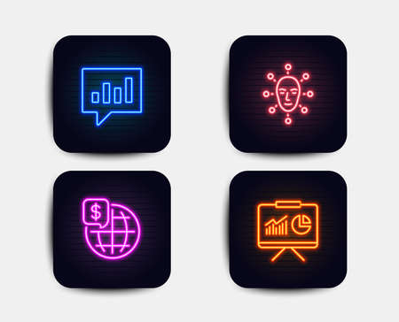Neon glow lights. Set of Analytical chat, Face biometrics and World money icons. Presentation sign. Communication speech bubble, Facial recognition, Global markets. Board with charts. Neon icons