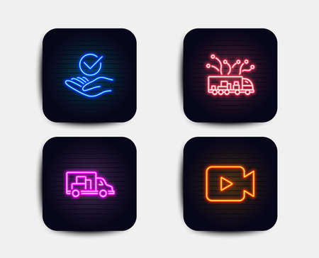 Neon glow lights. Set of Approved, Truck delivery and Truck transport icons. Video camera sign. Verified symbol, Logistics, Delivery. Movie or cinema.  Neon icons. Glowing light banners. Vector