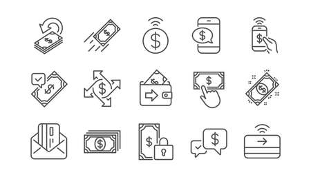 Money payment line icons. Accept transfer, Pay by Phone and Credit card. Cash linear icon set.  Vector Banco de Imagens - 118231617