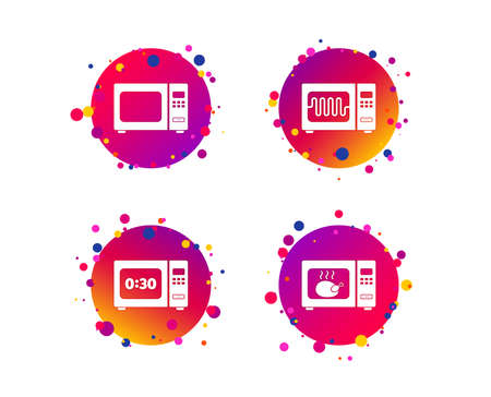 Microwave oven icons. Cook in electric stove symbols. Grill chicken with timer signs. Gradient circle buttons with icons. Random dots design. Vector Imagens - 124745227