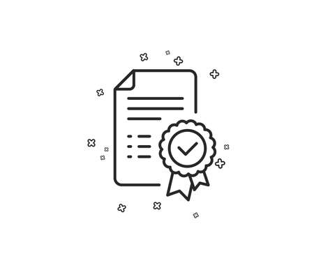 Certificate line icon. Verified document sign. Accepted or confirmed symbol. Geometric shapes. Random cross elements. Linear Certificate icon design. Vector Foto de archivo - 124745229