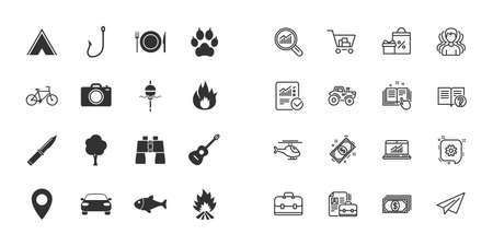 Set of Travel, Hiking and Camping icons. Fishing, Biking and Guitar music signs. Tourist tent, Food and Binoculars symbols. Photo and Rent a car. Paper plane, report and shopping cart icons. Vector