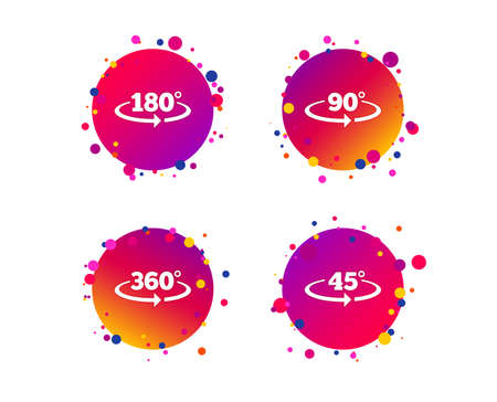 Angle 45-360 degrees icons. Geometry math signs symbols. Full complete rotation arrow. Gradient circle buttons with icons. Random dots design. Vector