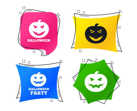 Halloween pumpkin icons. Halloween party sign symbol. All Hallows Day celebration. Geometric colorful tags. Banners with flat icons. Trendy design. Vector Illustration