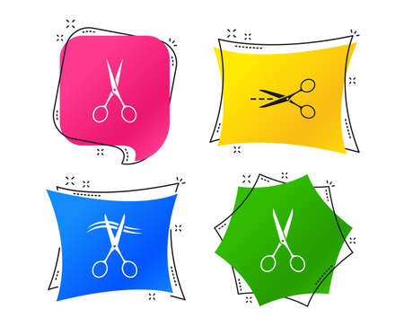 Scissors icons. Hairdresser or barbershop symbol. Scissors cut hair. Cut dash dotted line. Tailor symbol. Geometric colorful tags. Banners with flat icons. Trendy design. Vector