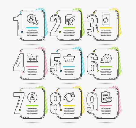 Infographic template with numbers 9 options. Set of Feather signature, Shopping basket and Person info icons. User, User communication and Time management signs. Vector 스톡 콘텐츠 - 124745243