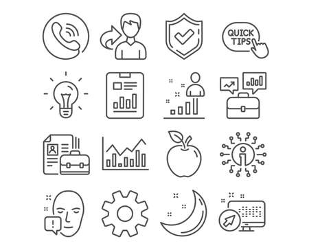 Set of Service, Face attention and Quick tips icons. Infochart, Stats and Report document signs. Business portfolio, Vacancy and Idea symbols. Cogwheel gear, Exclamation mark, Helpful tricks. Vector Foto de archivo - 124745244
