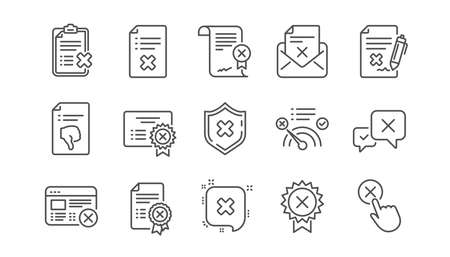 Rechazar iconos de línea. Rechazar, cancelar y no me gusta. Desaprobar el conjunto de iconos lineales. Vector