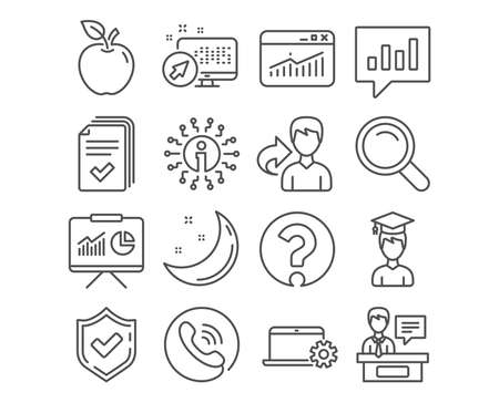 Set of Website statistics, Analytical chat and Search icons. Student, Question mark and Exhibitors signs. Handout, Notebook service and Presentation symbols. Vector