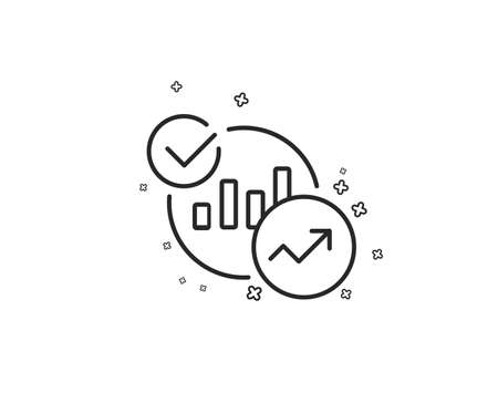Charts, Statistics line icon. Report graph or Sales growth sign. Analytics data symbol. Geometric shapes. Random cross elements. Linear Statistics icon design. Vector