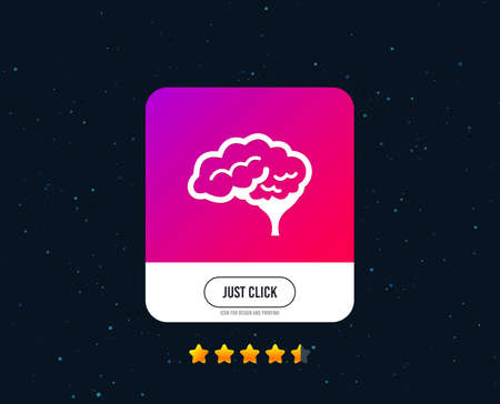 Brain with cerebellum sign icon. Human intelligent smart mind. Web or internet icon design. Rating stars. Just click button. Vector Illustration