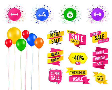 Balloons party. Sales banners. Dumbbells sign icons. Fitness sport symbols. Gym workout equipment. Birthday event. Trendy design. Vector