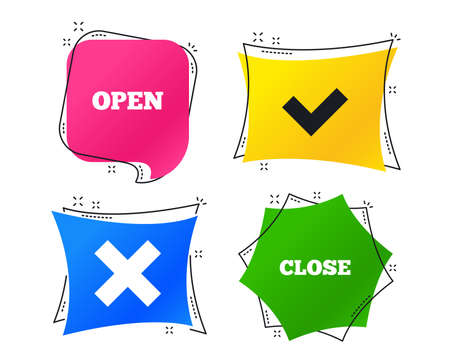 Open and Close icons. Check or Tick. Delete remove signs. Yes correct and cancel symbol. Geometric colorful tags. Banners with flat icons. Trendy design. Vector Illustration