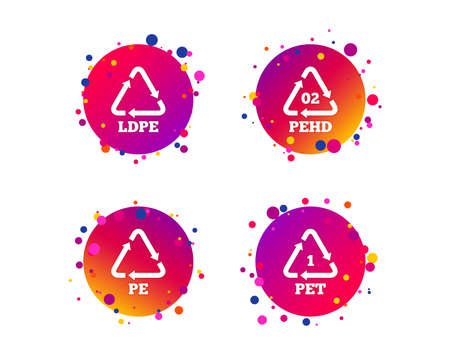 PET, Ld-pe and Hd-pe icons. High-density Polyethylene terephthalate sign. Recycling symbol. Gradient circle buttons with icons. Random dots design. Vector Illustration