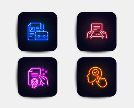 Neon glow lights. Set of Vacancy, Receive file and Certificate icons. Select user sign. Hiring job, Hold document, Certified guarantee. Head with checkbox.  Neon icons. Glowing light banners. Vector