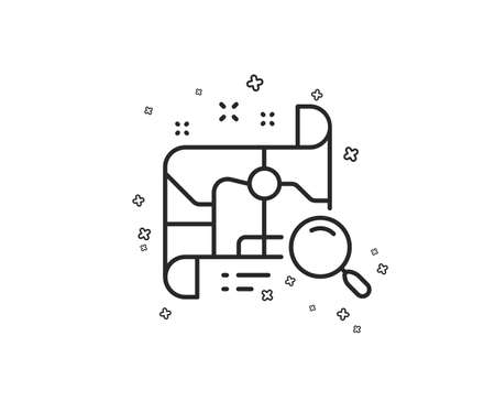 Search map line icon. Find location address sign. Geometric shapes. Random cross elements. Linear Search map icon design. Vector