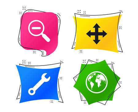 Magnifier glass and globe search icons. Fullscreen arrows and wrench key repair sign symbols. Geometric colorful tags. Banners with flat icons. Trendy design. Vector