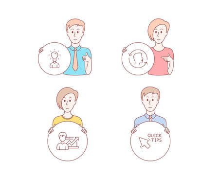 People hand drawn style. Set of Success business, Education and Face id icons. Quick tips sign. Growth chart, Human idea, Identification system. Helpful tricks.  Character hold circle button. Vector