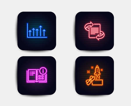 Neon set of Instruction info, Marketing and Growth chart icons. Innovation sign. Project, Article, Upper arrows. Crowdfunding. Neon icons. Glowing light banners. Vector