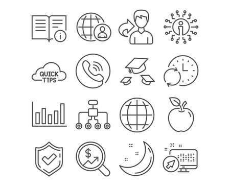 Set of Technical info, Throw hats and Update time icons. International recruitment, Globe and Restructuring signs. Quick tips, Currency audit and Column chart symbols. Vector