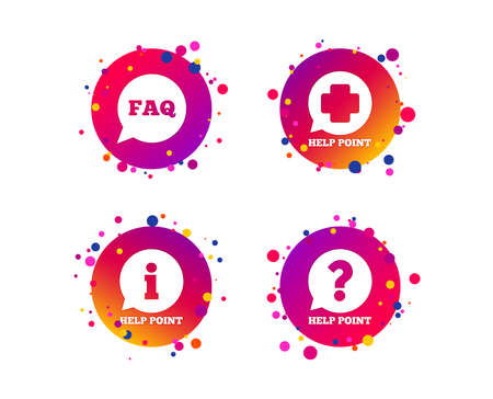 Help point icons. Question and information symbols. FAQ speech bubble signs. Gradient circle buttons with icons. Random dots design. Vector Vector Illustration