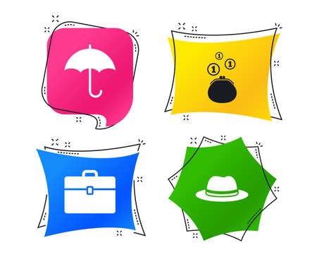 Clothing accessories icons. Umbrella and headdress hat signs. Wallet with cash coins, business case symbols. Geometric colorful tags. Banners with flat icons. Trendy design. Vector Archivio Fotografico - 118097917