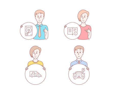 People hand drawn style. Set of Hdd, Truck transport and Technical info icons. Parking sign. Hard disk, Delivery, Documentation. Car park. Character hold circle button. Man with like hand. Vector