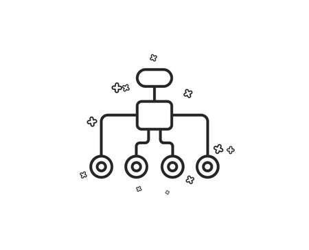 Symbol für die Umstrukturierungslinie. Geschäftsarchitektur-Zeichen. Delegiertensymbol. Geometrische Formen. Zufällige Kreuzelemente. Lineares Restrukturierungs-Icon-Design. Vektor