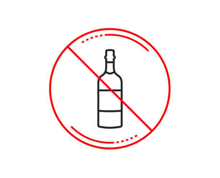 No or stop sign. Brandy bottle line icon. Whiskey alcohol sign. Caution prohibited ban stop symbol. No  icon design.  Vector Illustration