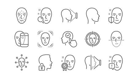 Face recognize line icons. Biometrics detection, Face id and scanning. Identification linear icon set.  Vector Stok Fotoğraf - 118231817