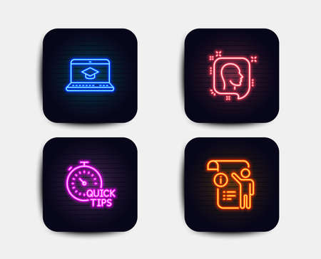 Neon glow lights. Set of Head, Quick tips and Website education icons. Manual doc sign. Profile messages, Helpful tricks, Video learning. Project info.  Neon icons. Glowing light banners. Vector Illustration