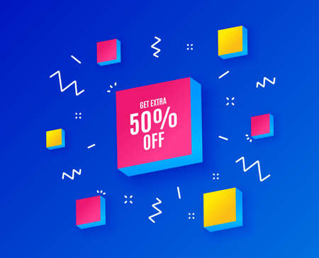 Get Extra 50% off Sale. Discount offer price sign. Special offer symbol. Save 50 percentages. Isometric cubes with geometric shapes. Creative shopping banners. Template for design. Vector Ilustração