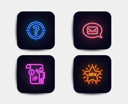 Neon glow lights. Set of Messenger, Headhunter and Manual doc icons. New star sign. New message, Aim with question mark, Project info. Shopping.  Neon icons. Glowing light banners. Vector Illustration
