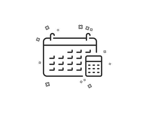 Calendar with calculator line icon. Accounting sign. Calculate finance symbol. Geometric shapes. Random cross elements. Linear Calendar icon design. Vector Illustration