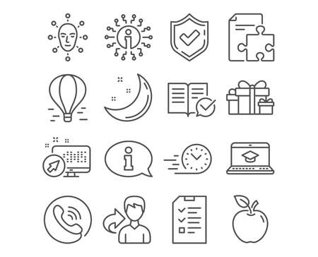 Set of Fast delivery, Face biometrics and Strategy icons. Approved documentation, Interview and Information signs. Website education, Holiday presents and Air balloon symbols. Vector