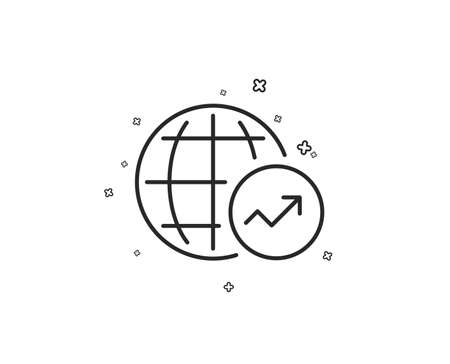 World Statistics line icon. Report chart or Sales growth sign. Data Analysis graph symbol. Geometric shapes. Random cross elements. Linear World Statistics icon design. Vector Illusztráció
