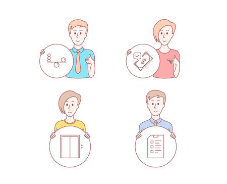People hand drawn style. Set of Balance, Lift and Accepted payment icons. Checklist sign. Concentration, Elevator, Bank transfer. Data list.  Character hold circle button. Man with like hand. Vector